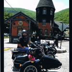 Sharon, Christian and their children Jacob and Sadie at the Jim Thorpe train station during a family sidecar tour.