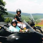 Old friends Marlene & Gladys catch up on old times in Jim Thorpe while enjoying the sights from a sidecar.