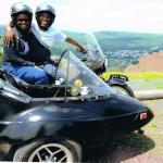 Thomson and Faith are all smiles during their sidecar tour in Jim Thorpe.