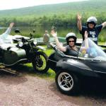 Danny, Kara and Momma Ginny from Long Island enjoying their time away at Mauch Chunk Lake during a summer sidecar tour.