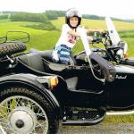 Twins Bella and Alex loved their sidecar adventure during summer vacation!