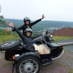 Sisters Gina & Ruby enjoying their time together in a sidecar.