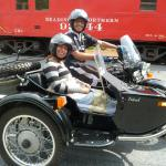 Heida & Hector from Teaneck, N.J. celebrate Hector's birthday with Jim Thorpe Sidecar Tourz.