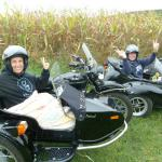 Glenn and Cathy from Quincy, Mass. enjoying the Autumn colors from the comfort of a sidecar.