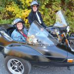 Gail & David from Phoenixville, Pa. enjoy a beautiful Indian summer afternoon while taking a sidecar tour with Barb.
