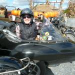 Jennifer loving her afternoon out and about in a sidecar.
