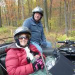 Maria & Tom from Plains, Pa. take in the beautiful fall colors while enjoying a sidecar adventure.