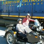 Barbara and John from Collegeville, Pa. celebrate their Anniversary with a sidecar adventure.