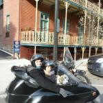 Tom and Jessie enjoying historic Jim Thorpe from the view of a sidecar.