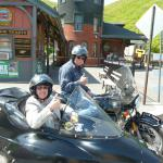Judy and Eric from Grant, Michigan took in some local history while enjoying the views from a BMW sidecar.