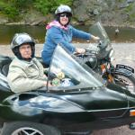 Deb and Randy from Bowling Green, Ohio enjoying themselves during their Pocono getaway from the seat of a sidecar.