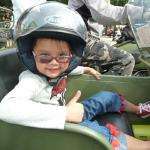 Beautiful 5 year old Gabriela loves seeing the world from a sidecar!