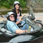 Michael and Mary from High Bridge, NJ celebrate Mary's birthday while touring in a sidecar.