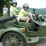 Buddies Mark and Jacob just couldn't keep the excitement from their faces while touring Jim Thorpe in a military themed sidecar!