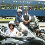 Mark and Julie from Elverson, Pa. celebrating the 4th of July holiday from a sidecar.