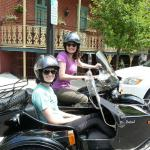 Rachel from Ambler, Pa. and Sarah from Conshohocken, Pa. enjoying their very first motorcycle experience while touring the town of Jim Thorpe from a sidecar.