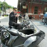 Joshua takes a break from his busy scheduele with the railroad, to hop on a Antique BMW sidecar rig.