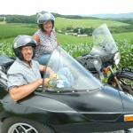 Marty and Tom from Holtwood, Pa. take in the scenery from a sidecar during their very first visit to Jim Thorpe.