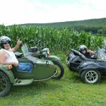Kristi and Craig from Blue Bell, Pa. enjoying a beautiful lazy summer afternoon from sidecars.