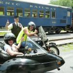 Carol and Gary from Robesonia, Pa. enjoying a hot summer day while catching the breeze in a vintage BMW sidecar rig.