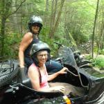 Good friend's Connie and Anne enjoyed the Pocono outdoors at its finest while riding in a BMW antique sidecar rig.