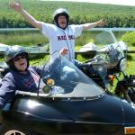 Tom from Odenton, Md. and his son Tim from Mount Joy, Pa. enjoy their time together while touring Jim Thorpe from a sidecar.