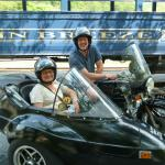 Motorcycle enthusiast Kelly and his wife Gina from Minnetonka, Mn. take in the sights of historic Jim Thorpe from an antique BMW Sidecar.